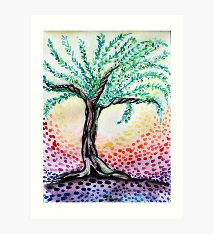 Watercolour Olive Tree Art Print