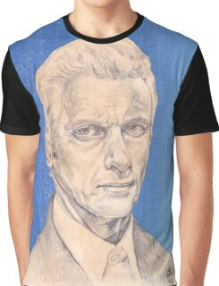 Doctor Who Fan Art Sketch - Peter Capaldi Sketch Portrait Drawing Graphic T-Shirt