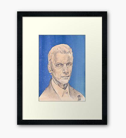 Doctor Who Fan Art Sketch - Peter Capaldi Sketch Portrait Drawing Framed Print