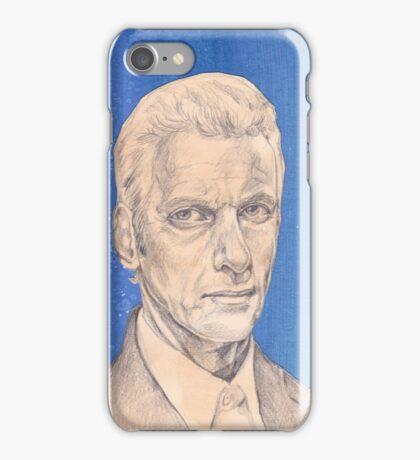 Doctor Who Fan Art Sketch - Peter Capaldi Sketch Portrait Drawing iPhone Case/Skin