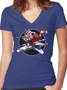 Red Panda, Standing By Women's Fitted V-Neck T-Shirt