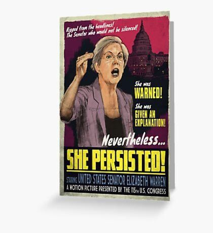 She Persisted - Elizabeth Warren Vintage Movie Poster Greeting Card