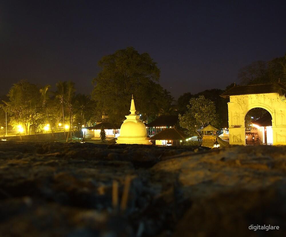 Buddist Temple at night by digitalglare