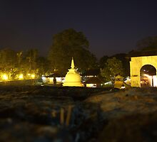 Buddist Temple at night by digitalglare