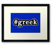 Greek - Hashtag - Black & White Framed Print