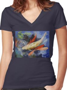 Koi and Water Ripples Women's Fitted V-Neck T-Shirt