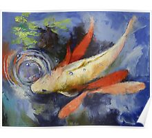 Koi and Water Ripples Poster