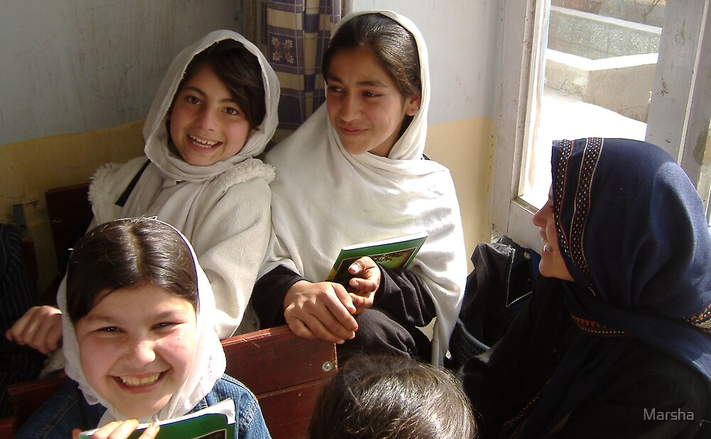 Janet/Afghans4Tomorrow Vocational & Training School students in English class. by Marsha