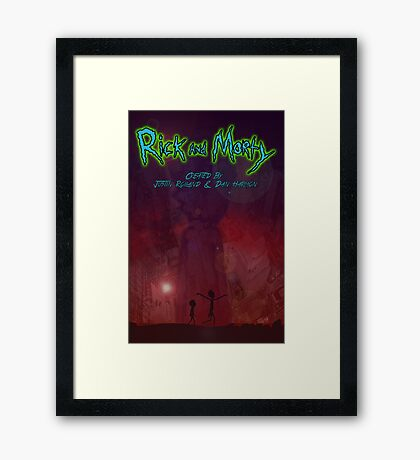 Rick and morty Space Galexy city  Framed Print