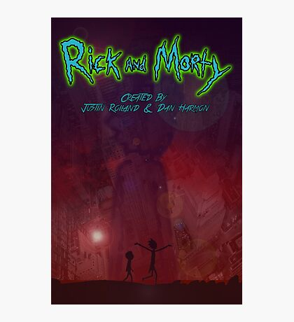 Rick and morty Space Galexy city  Photographic Print
