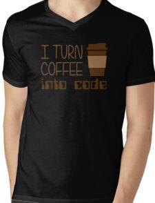 I Turn Coffee Into Programming Code Mens V-Neck T-Shirt