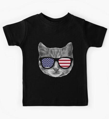 Patriotic Cat Kitten  Kids Tee