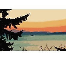 Boating at Sunset Digital Painting Photographic Print