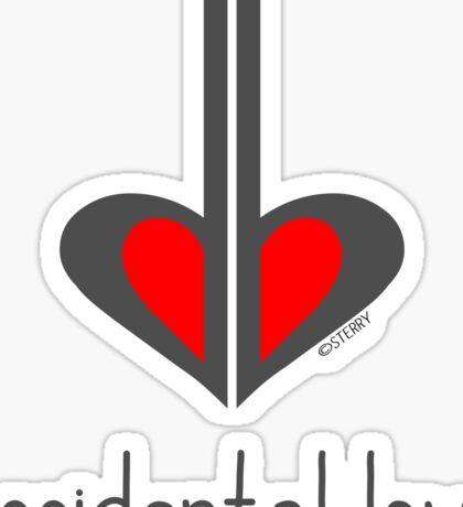 Accidental Love - Music Pun Cartoon Sticker