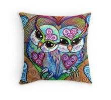 Rainbow Spirit Owls in black by Sheridon Rayment Throw Pillow