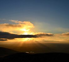 Double Peak Park Sunset with Rays by Art4ThGlryOfGod