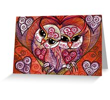 Rose Blush Spirit Owl in white by Sheridon Rayment Greeting Card