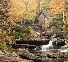 Grist Mill in Autumn by Dawn Crouse