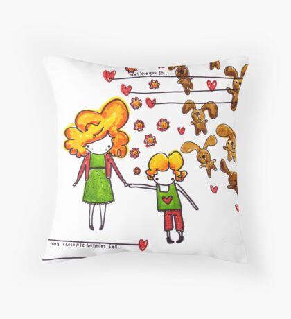 Chocolate Bunnies Throw Pillow