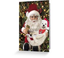 ♥ ˚ ˚✰˚LOOK AT ME ON SANTA'S KNEE I'M HAPPY HE'S GOT A BISCUIT FOR ME♥ ˚ ˚✰˚PICTURE-CARD Greeting Card