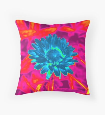 Pink / Blue flower title pending Throw Pillow