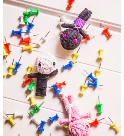 Voodoo Dolls Surrounded By Colorful Thumbtacks Sticker