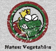 Hates: Vegetables (Battle Damage) Kids Tee