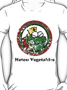 Hates: Vegetables (Battle Damage) T-Shirt