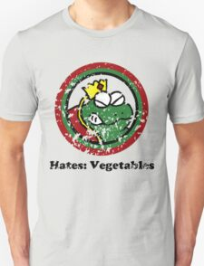 Hates: Vegetables (Battle Damage) Unisex T-Shirt