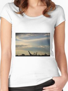 Giraffe Silhouette - Epic Sky and Freedom Women's Fitted Scoop T-Shirt
