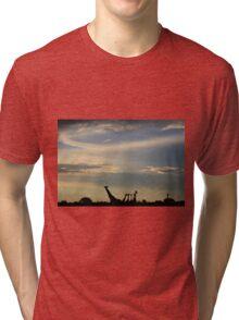 Giraffe Silhouette - Epic Sky and Freedom Tri-blend T-Shirt