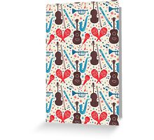 Music Instruments Pattern Greeting Card