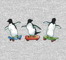 Happy Wheels - Penguins on Skate Boards One Piece - Long Sleeve