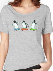 Happy Wheels - Penguins on Skate Boards Women's Relaxed Fit T-Shirt
