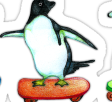 Happy Wheels - Penguins on Skate Boards Sticker