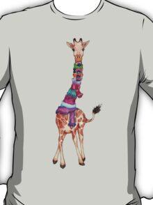 Cold Outside - Cute Giraffe Illustration T-Shirt