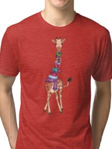 Cold Outside - Cute Giraffe Illustration Tri-blend T-Shirt