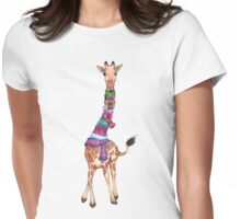 Cold Outside - Cute Giraffe Illustration Womens Fitted T-Shirt