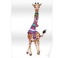 Cold Outside - Cute Giraffe Illustration Poster