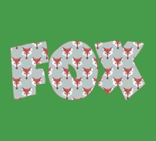 Fox Pattern on Sage  Kids Tee