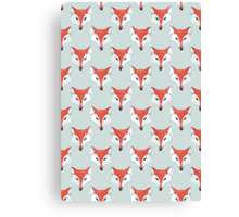 Fox Pattern on Sage  Canvas Print