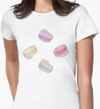 French Macaron Pattern - raspberry, pistachio, lemon & blueberry Womens Fitted T-Shirt