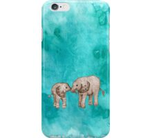 Baby Elephant Love - sepia on teal watercolour iPhone Case/Skin