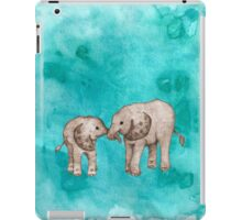 Baby Elephant Love - sepia on teal watercolour iPad Case/Skin