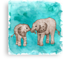 Baby Elephant Love - sepia on teal watercolour Canvas Print