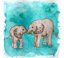 Baby Elephant Love - sepia on teal watercolour Poster