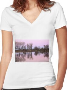 reflections on the lake Women's Fitted V-Neck T-Shirt