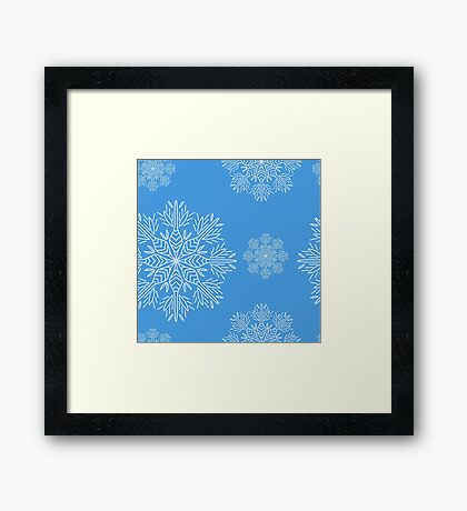 Christmas seamless pattern with snowflakes on blue background Framed Print