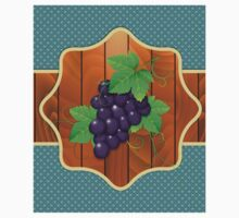 Grapes on a wooden background Kids Clothes