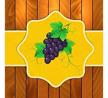 Grapes on a wooden background 3 Photographic Print